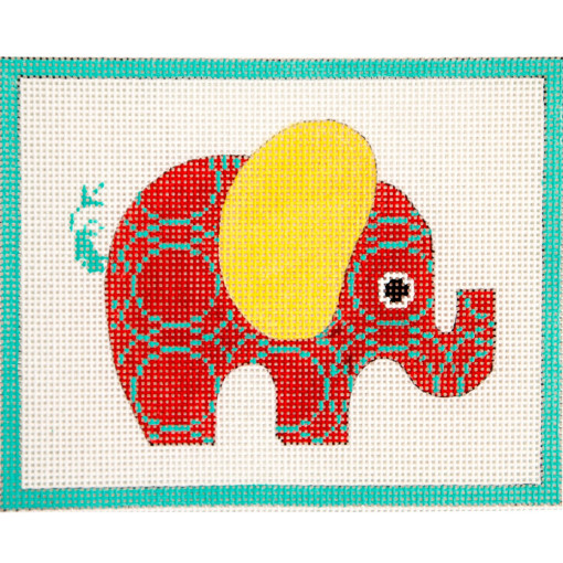 click here to view larger image of Red Patterned Elephant (hand painted canvases)