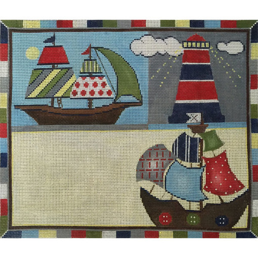 click here to view larger image of Sailboats Nautical  Birth Announcement (hand painted canvases)