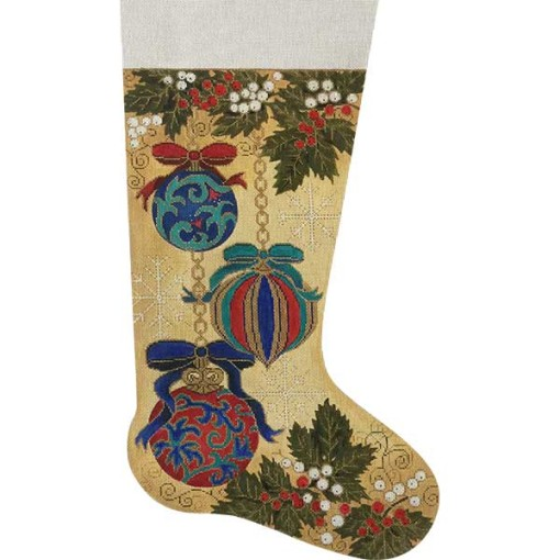 click here to view larger image of Victorian Ornaments Stocking (hand painted canvases)