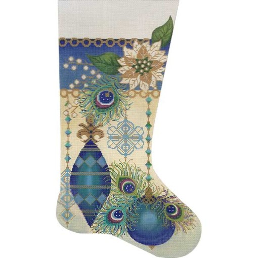click here to view larger image of Peacock Feathers Stocking (hand painted canvases)