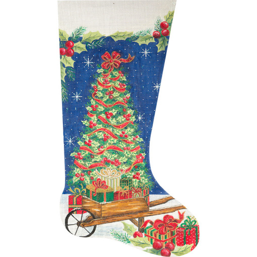 click here to view larger image of Christmas Tree and Wheelbarrow Stocking (hand painted canvases)