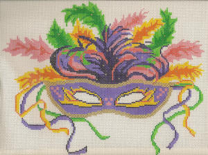 click here to view larger image of Large Mardi Gras Feather Mask - 18ct (hand painted canvases)