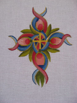 click here to view larger image of Medium Heraldry Cross (hand painted canvases)