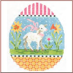 click here to view larger image of Spring Lamb Egg (hand painted canvases)