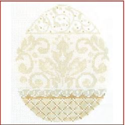 click here to view larger image of French Vanilla Damask Egg (hand painted canvases)