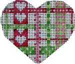 click here to view larger image of Pink/Green Woven Ribbon Mini Heart (hand painted canvases)