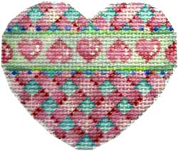 click here to view larger image of Bow Criss Cross Mini Heart Aqua/Pink (hand painted canvases)