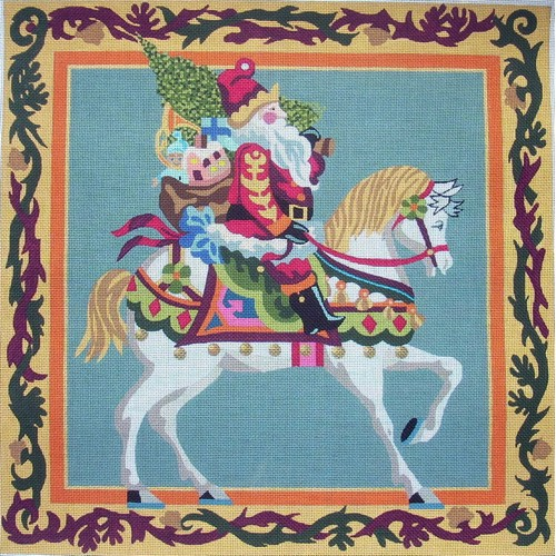 click here to view larger image of Equestrian Santa (hand painted canvases)