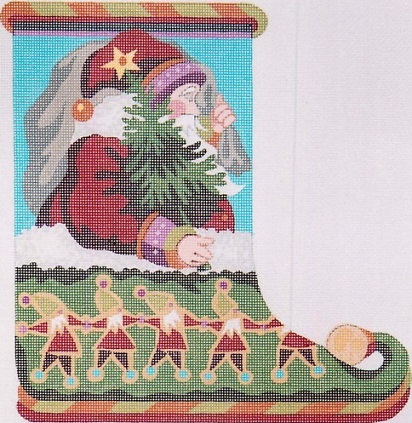 click here to view larger image of Santa Slipper (hand painted canvases)