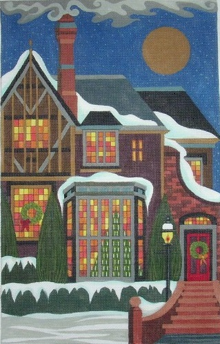 click here to view larger image of Tudor Christmas House (hand painted canvases)