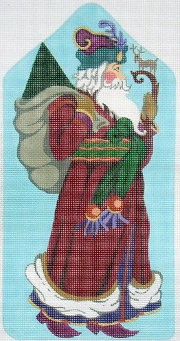 click here to view larger image of Santa Standup with Deer Staff (hand painted canvases)