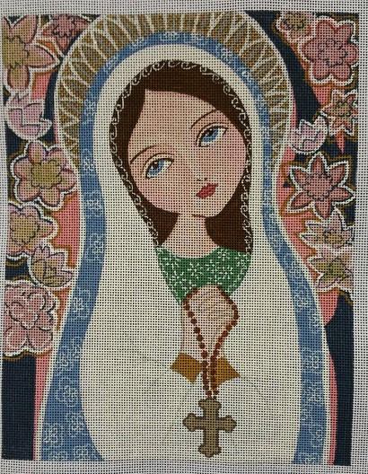 Rosary Mary hand painted canvases