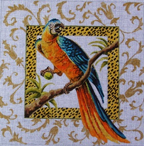 click here to view larger image of Blue/Orange Parrot (hand painted canvases)