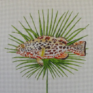 click here to view larger image of Spotted Fish on Palm Leaf (hand painted canvases)
