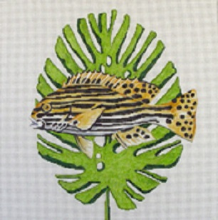 click here to view larger image of Striped Fish on Palm Leaf (hand painted canvases)