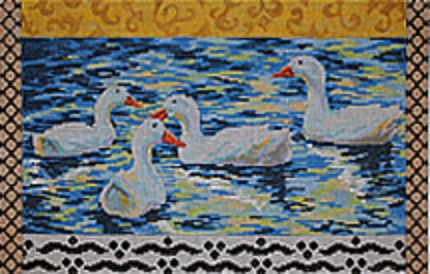 click here to view larger image of White Ducks (hand painted canvases)