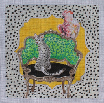 click here to view larger image of Cat and Parrot on Chair (hand painted canvases)