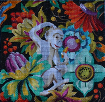 click here to view larger image of Floral/White Monkey (hand painted canvases)