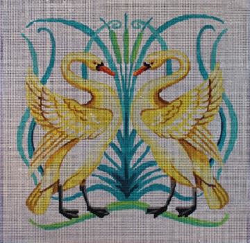 click here to view larger image of Art Nouveau Swans (hand painted canvases)