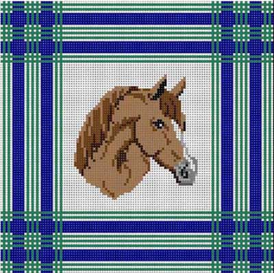 click here to view larger image of Horse With Plaid (hand painted canvases)