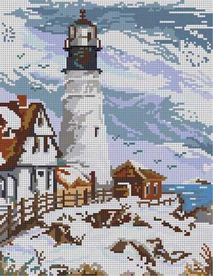 click here to view larger image of Winter Lighthouse (hand painted canvases)
