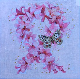 click here to view larger image of Azalea - Pink Ribbon (hand painted canvases)