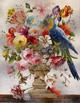 click here to view larger image of Parrot/Floral (hand painted canvases)