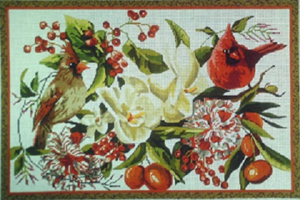 click here to view larger image of Red Birds/Floral - 18 Count (hand painted canvases)