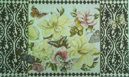 click here to view larger image of Magnolias/Butterflies - 18 Count (hand painted canvases)