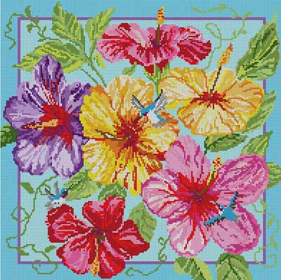 click here to view larger image of Hibiscus and Hummingbirds (hand painted canvases)