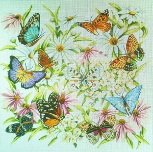 click here to view larger image of Butterflies and Flowers - 18 Count (hand painted canvases)