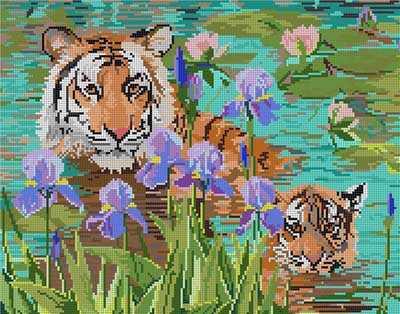 click here to view larger image of Mom and Baby Tiger (hand painted canvases)