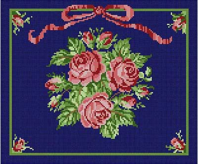click here to view larger image of Roses On Blue (hand painted canvases)