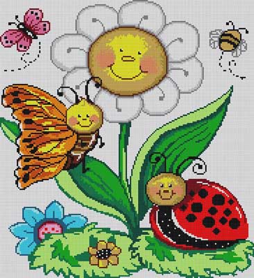 click here to view larger image of Bugs And Flowers (hand painted canvases)