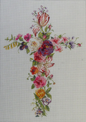 click here to view larger image of Floral Cross (hand painted canvases)