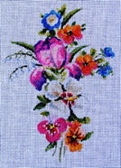 click here to view larger image of Floral Cross/Iris (hand painted canvases)