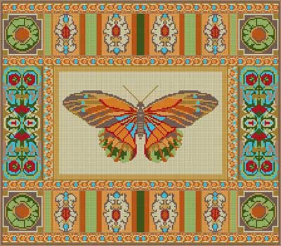 click here to view larger image of Butterfly And Patterns (hand painted canvases)