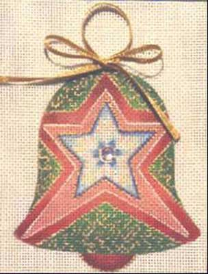click here to view larger image of Red Star Bell Ornament (hand painted canvases)