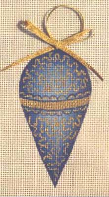 click here to view larger image of Blue/Gold Ornament (hand painted canvases)