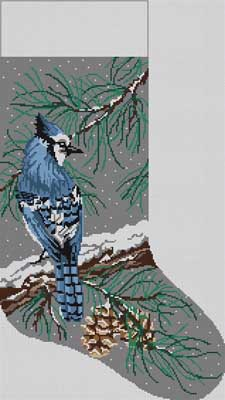 click here to view larger image of Blue Jay Stocking (hand painted canvases)