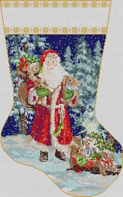 click here to view larger image of Santa In Forest Stocking (hand painted canvases)