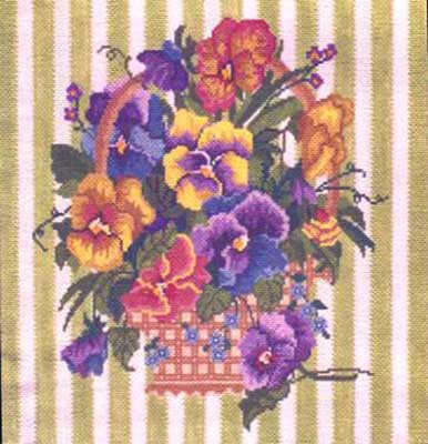 click here to view larger image of Pansy Basket (hand painted canvases)