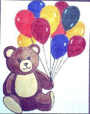 click here to view larger image of Teddy Bear With Balloons (hand painted canvases)