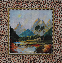 click here to view larger image of Landscape, Leopard Border (hand painted canvases)