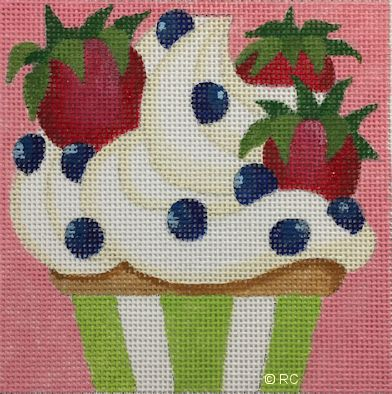 click here to view larger image of Berry Cupcake (hand painted canvases)