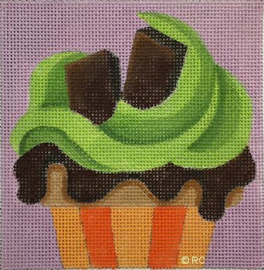 click here to view larger image of Andes Chocolate Mint Cupcake (hand painted canvases)