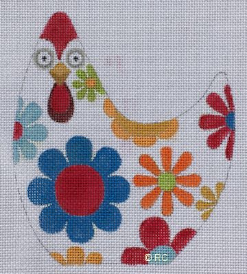 click here to view larger image of White Floral Chicken (hand painted canvases)