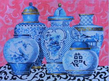click here to view larger image of Blue Vases (hand painted canvases)