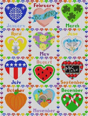 click here to view larger image of Calendar Hearts - complete set (hand painted canvases)