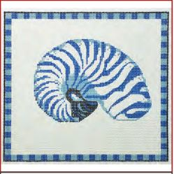 click here to view larger image of Armored Nautilus In Ocean Blue - 13ct (hand painted canvases)